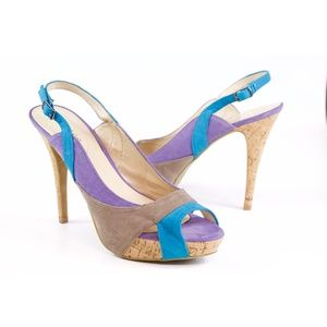 Guess Ruby Multi Color Slingback Peep Toe Heels